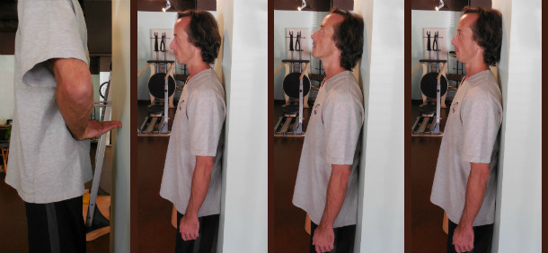 The four primary steps of the Wall Stand Exercise